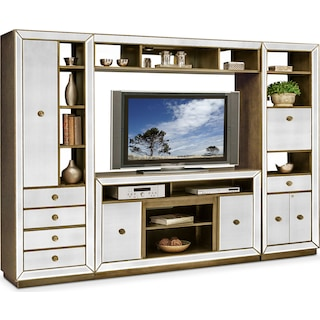 Reflection 4-Piece Entertainment Wall Unit - Mirror