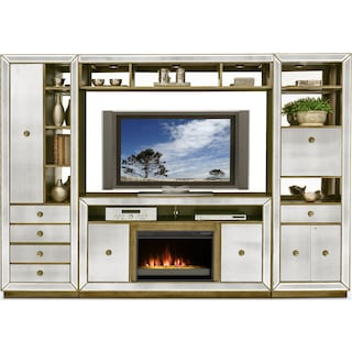 reflection 4 piece entertainment wall unit with contemporary fireplace mirror - Living Room Storage Furniture