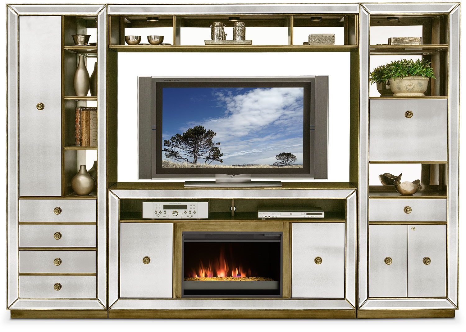 Reflection 4 Piece Entertainment Wall Unit With Contemporary Fireplace    Mirror