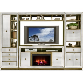 Reflection 4 Piece Entertainment Wall Unit With Traditional Fireplace Mirror
