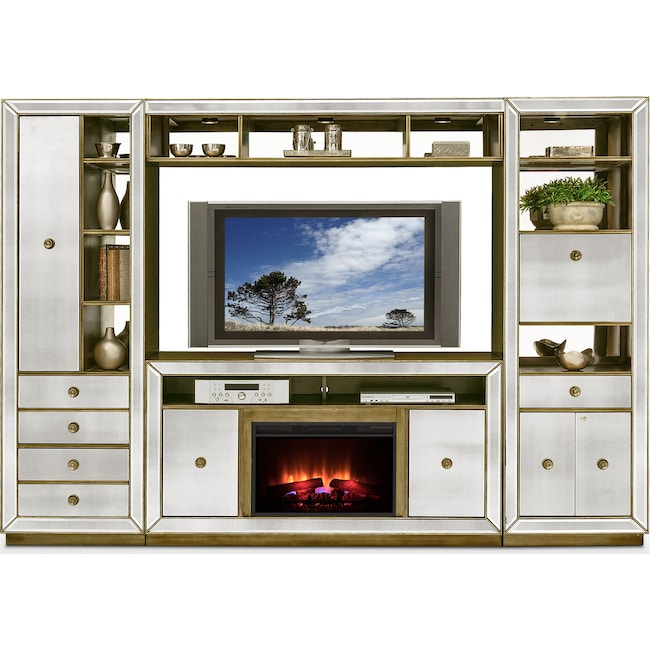 Entertainment Furniture - Reflection 4-Piece Entertainment Wall Unit with Fireplace