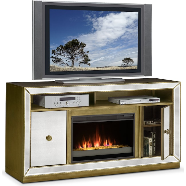 Entertainment Furniture - Reflection Contemporary Fireplace TV Stand -  Mirror - Reflection Contemporary Fireplace TV Stand - Mirror Value City