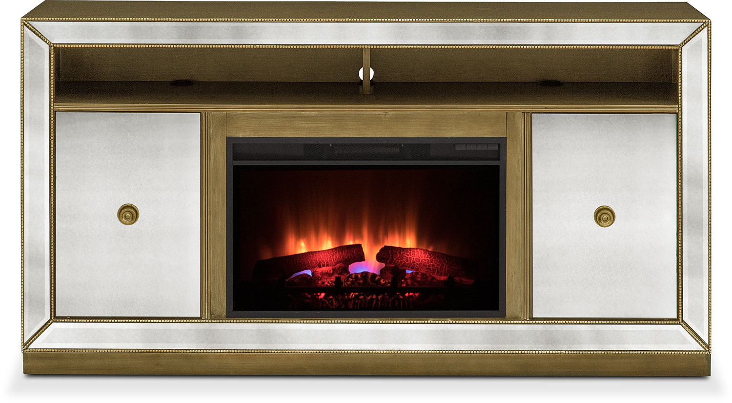 reflection traditional fireplace tv stand mirror value city