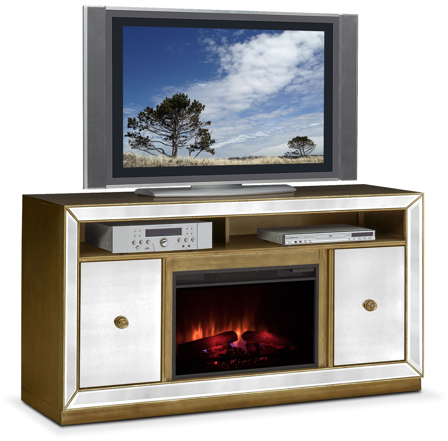 Furniture Com: Reflection Traditional Fireplace TV Stand - Mirror