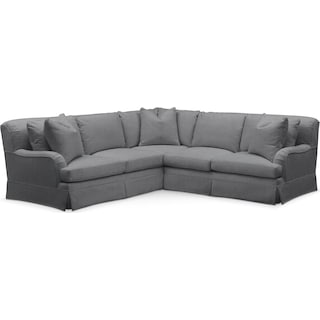Campbell 2 Pc. Sectional with Right Arm Facing Loveseat- Comfort in Depalma Charcoal