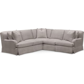 Campbell 2 Pc. Sectional with Right Arm Facing Loveseat- Cumulus in Curious Silver Rine
