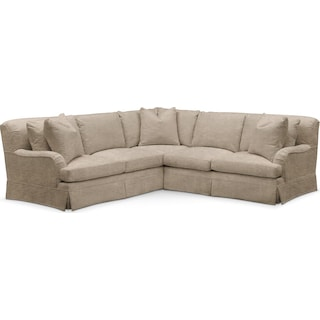 Campbell 2 Pc. Sectional with Right Arm Facing Loveseat- Cumulus in Dudley Burlap