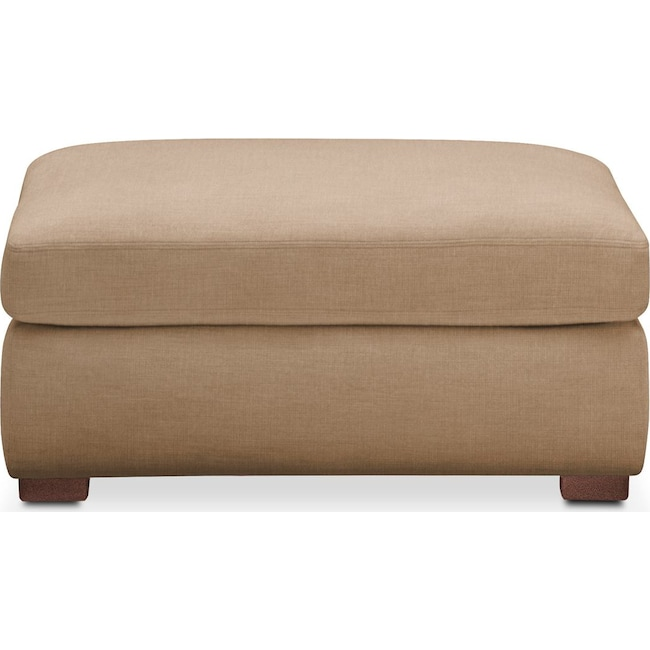 Living Room Furniture - Asher Ottoman- Comfort in Hugo Camel