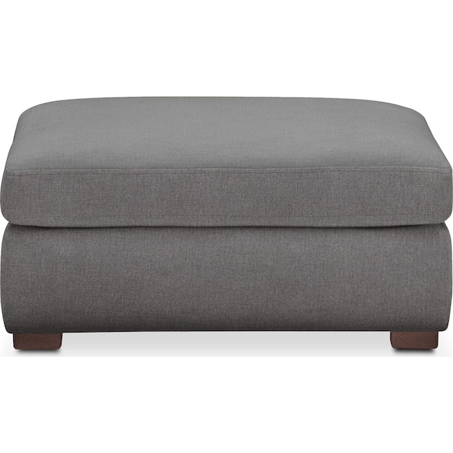 Living Room Furniture - Asher Ottoman- Comfort in Hugo Graphite