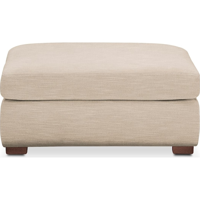 Living Room Furniture - Asher Ottoman- Comfort in Dudley Buff