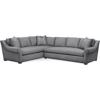 Asher 2 Pc. Sectional with Right Arm Facing Sofa- Comfort in Depalma Charcoal