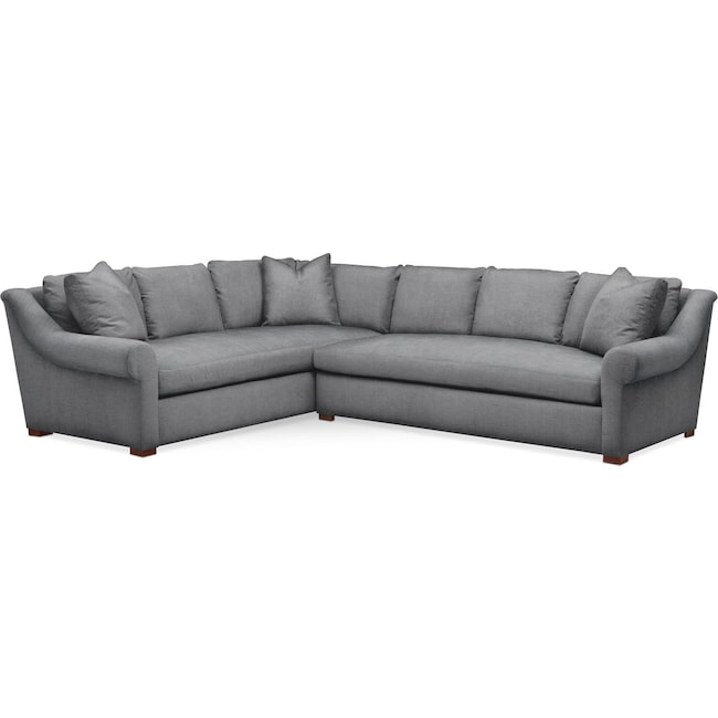 Living Room Furniture - Asher 2 Pc. Sectional with Right Arm Facing Sofa- Comfort in Depalma Charcoal