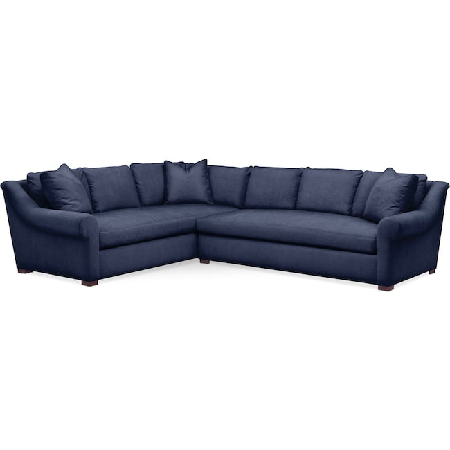 Living Room Furniture - Asher 2 Pc. Sectional with Right Arm Facing Sofa- Comfort in Oakley III Ink