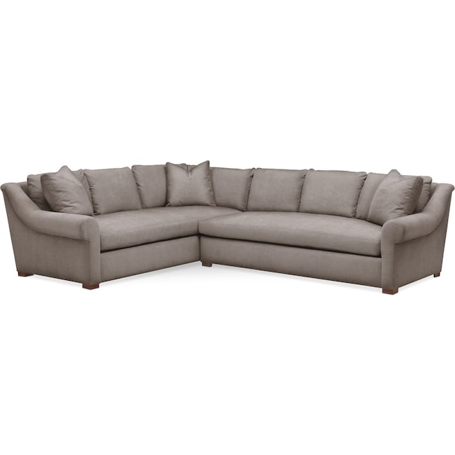Living Room Furniture - Asher 2 Pc. Sectional with Right Arm Facing Sofa- Comfort in Oakley III Granite