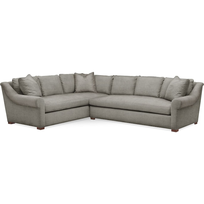 Living Room Furniture - Asher 2 Pc. Sectional with Right Arm Facing Sofa- Comfort in Victory Smoke