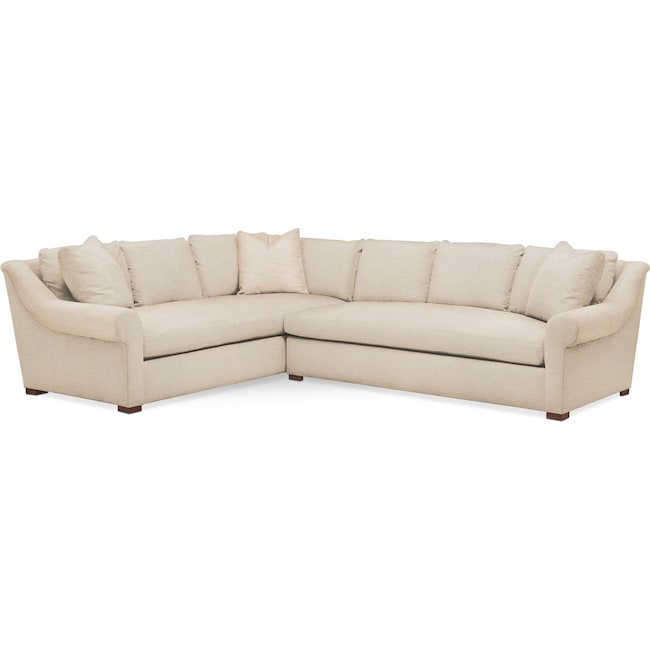 Living Room Furniture - Asher 2 Pc. Sectional with Right Arm Facing Sofa- Comfort in Victory Ivory