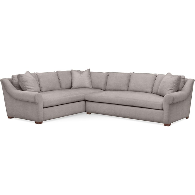 Living Room Furniture - Asher 2 Pc. Sectional with Right Arm Facing Sofa- Comfort in Curious Silver Rine