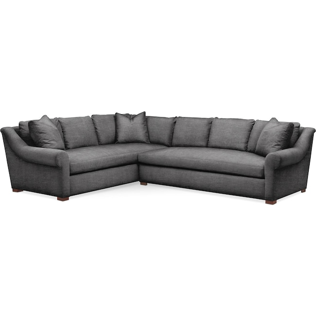 Living Room Furniture - Asher 2 Pc. Sectional with Right Arm Facing Sofa- Comfort in Curious Charcoal