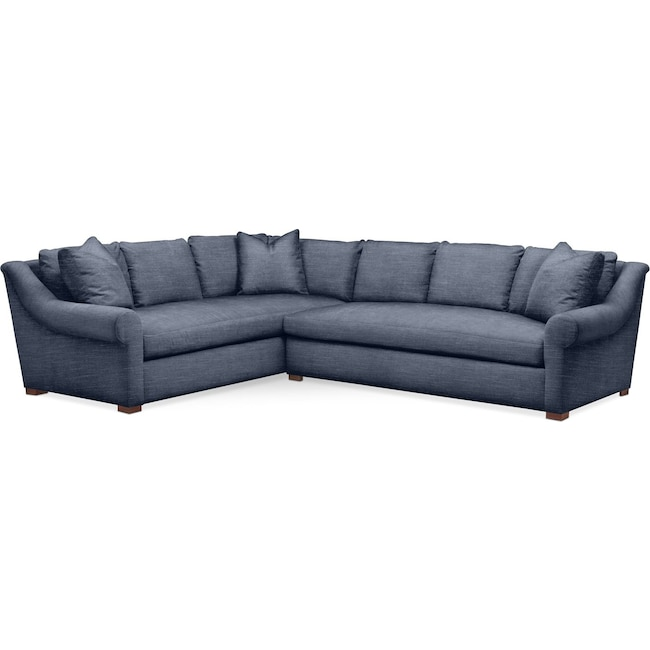Living Room Furniture - Asher 2 Pc. Sectional with Right Arm Facing Sofa- Comfort in Curious Eclipse