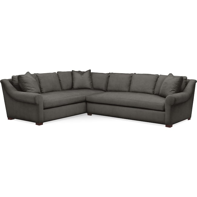 Living Room Furniture - Asher 2 Pc. Sectional with Right Arm Facing Sofa- Comfort in Statley L Sterling