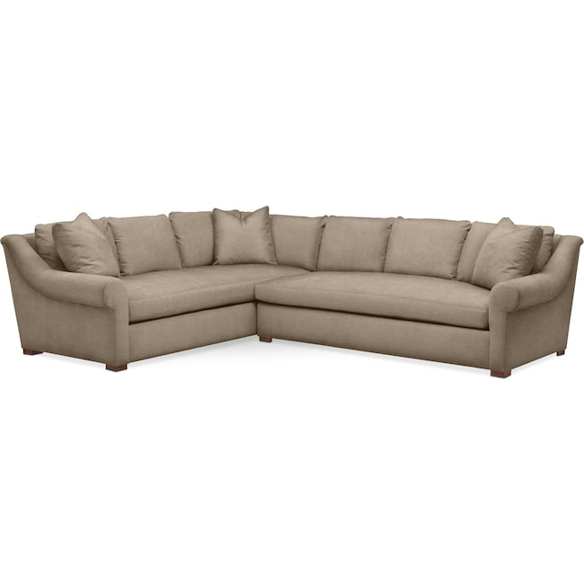 Living Room Furniture - Asher 2 Pc. Sectional with Right Arm Facing Sofa- Comfort in Statley L Mondo