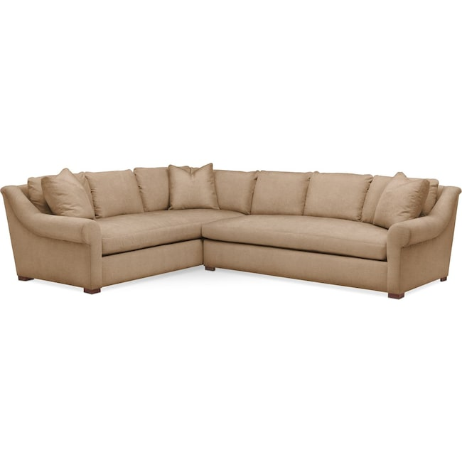 Living Room Furniture - Asher 2 Pc. Sectional with Right Arm Facing Sofa- Comfort in Hugo Camel