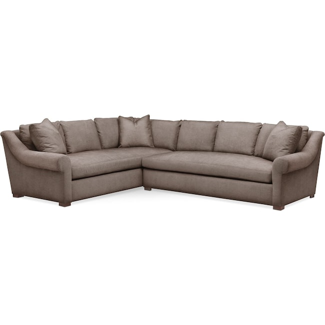 Living Room Furniture - Asher 2 Pc. Sectional with Right Arm Facing Sofa- Comfort in Hugo Mocha