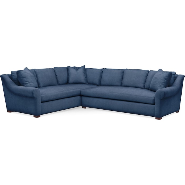 Living Room Furniture - Asher 2 Pc. Sectional with Right Arm Facing Sofa- Comfort in Hugo Indigo