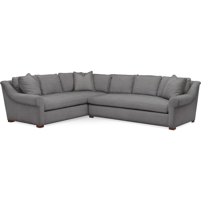 Living Room Furniture - Asher 2 Pc. Sectional with Right Arm Facing Sofa- Comfort in Hugo Graphite