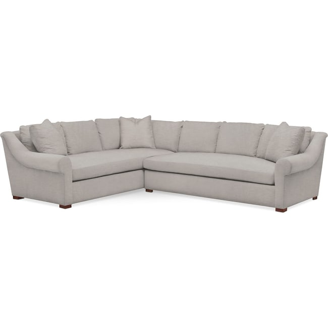 Living Room Furniture - Asher 2 Pc. Sectional with Right Arm Facing Sofa- Comfort in Dudley Gray