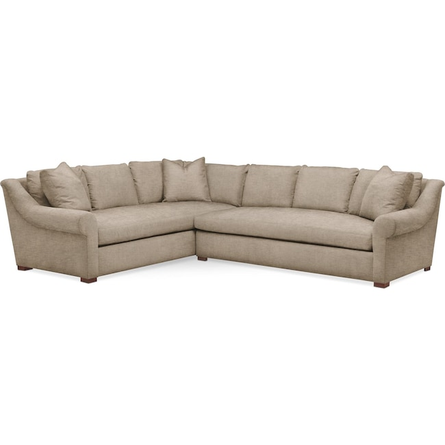 Living Room Furniture - Asher 2 Pc. Sectional with Right Arm Facing Sofa- Comfort in Dudley Burlap