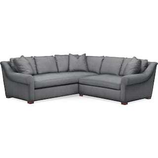 Asher 2 Pc. Sectional with Right Arm Facing Loveseat- Comfort in Depalma Charcoal