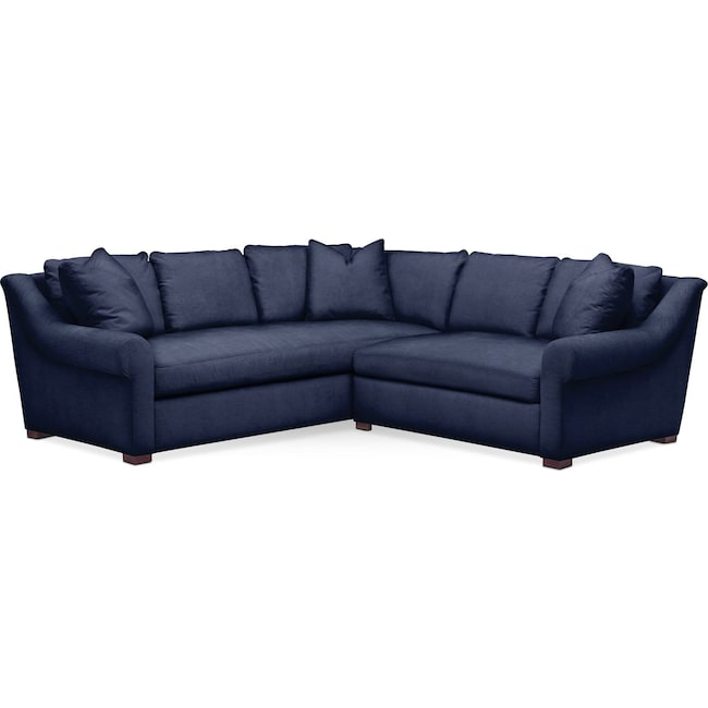 Living Room Furniture - Asher 2 Pc. Sectional with Right Arm Facing Loveseat- Comfort in Oakley III Ink