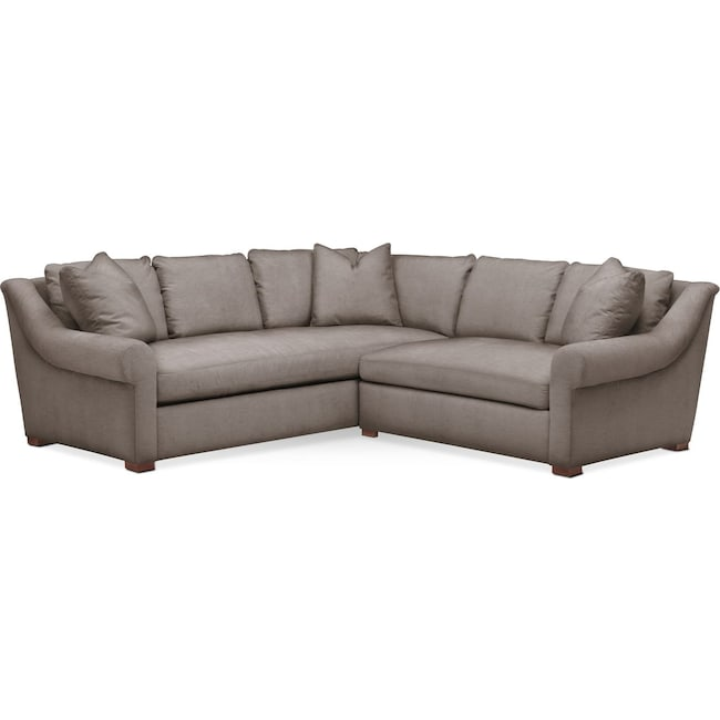Living Room Furniture - Asher 2 Pc. Sectional with Right Arm Facing Loveseat- Comfort in Oakley III Granite