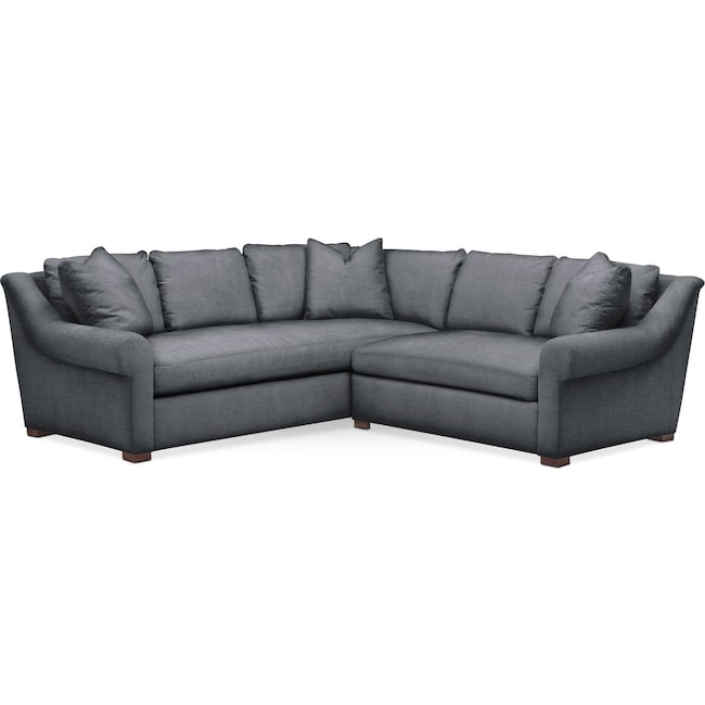 Living Room Furniture - Asher 2 Pc. Sectional with Right Arm Facing Loveseat- Comfort in Milford II Charcoal