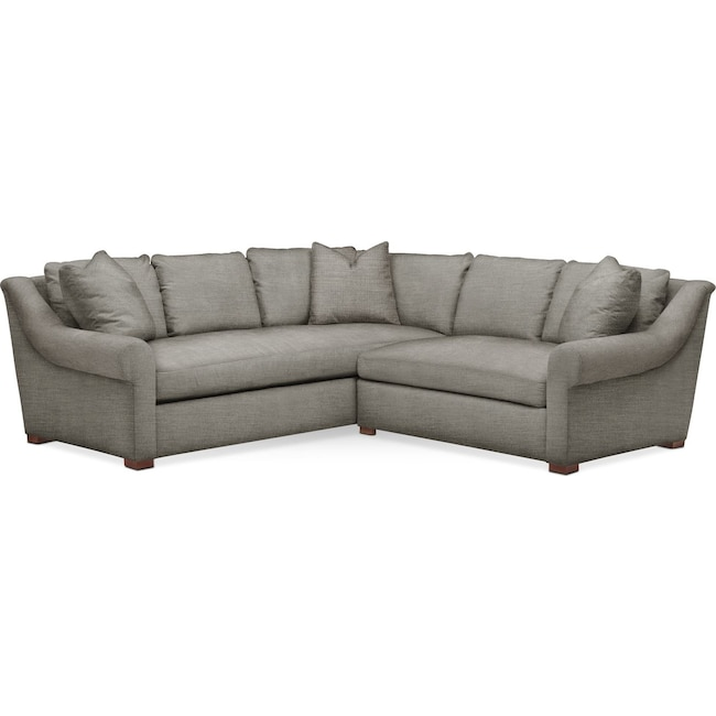Living Room Furniture - Asher 2 Pc. Sectional with Right Arm Facing Loveseat- Comfort in Victory Smoke