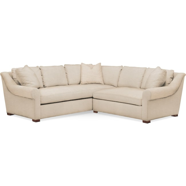 Living Room Furniture - Asher 2 Pc. Sectional with Right Arm Facing Loveseat- Comfort in Victory Ivory