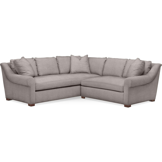 Living Room Furniture - Asher 2 Pc. Sectional with Right Arm Facing Loveseat- Comfort in Curious Silver Rine