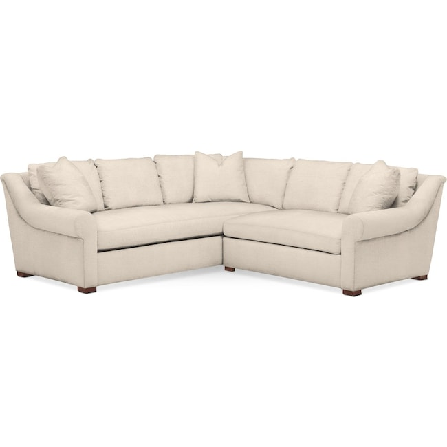 Living Room Furniture - Asher 2 Pc. Sectional with Right Arm Facing Loveseat- Comfort in Curious Pearl