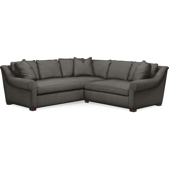 Living Room Furniture - Asher 2 Pc. Sectional with Right Arm Facing Loveseat- Comfort in Statley L Sterling