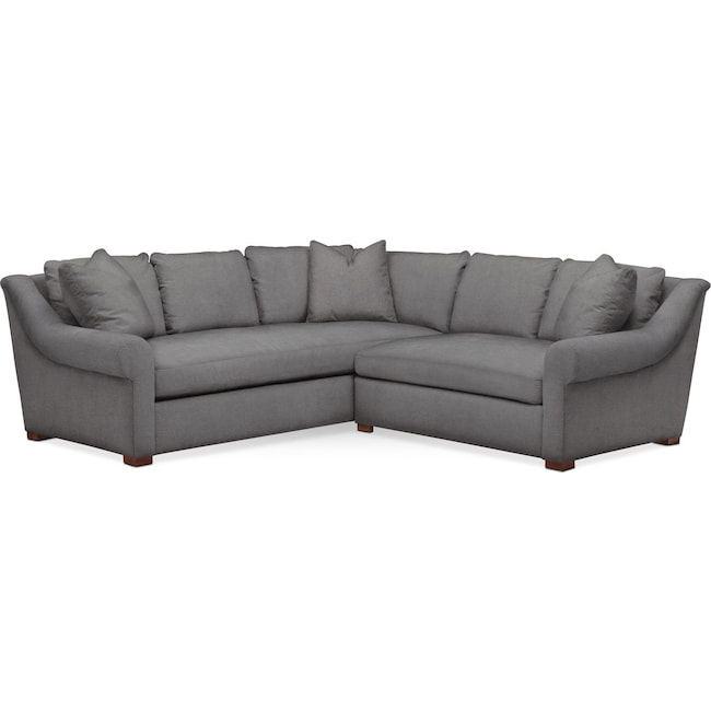 Living Room Furniture - Asher 2 Pc. Sectional with Right Arm Facing Loveseat- Comfort in Hugo Graphite
