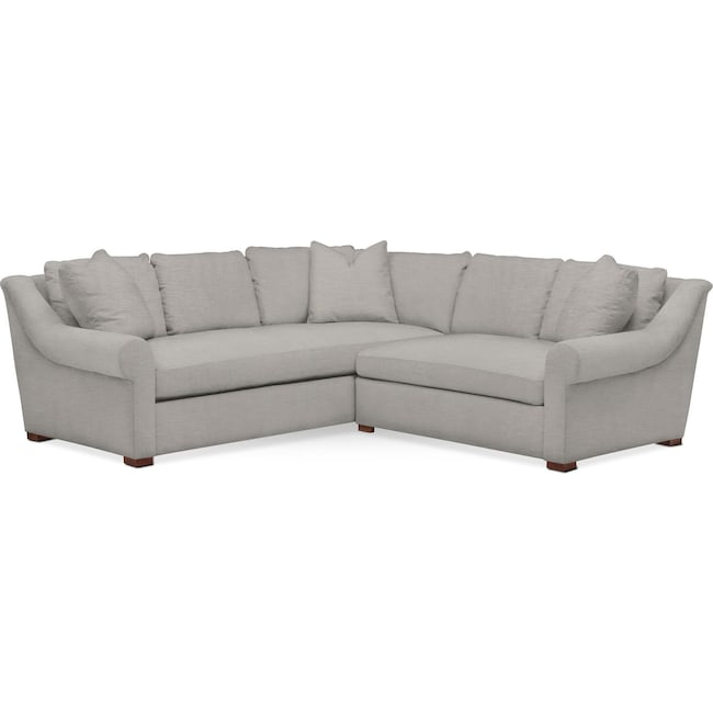 Living Room Furniture - Asher 2 Pc. Sectional with Right Arm Facing Loveseat- Comfort in Dudley Gray