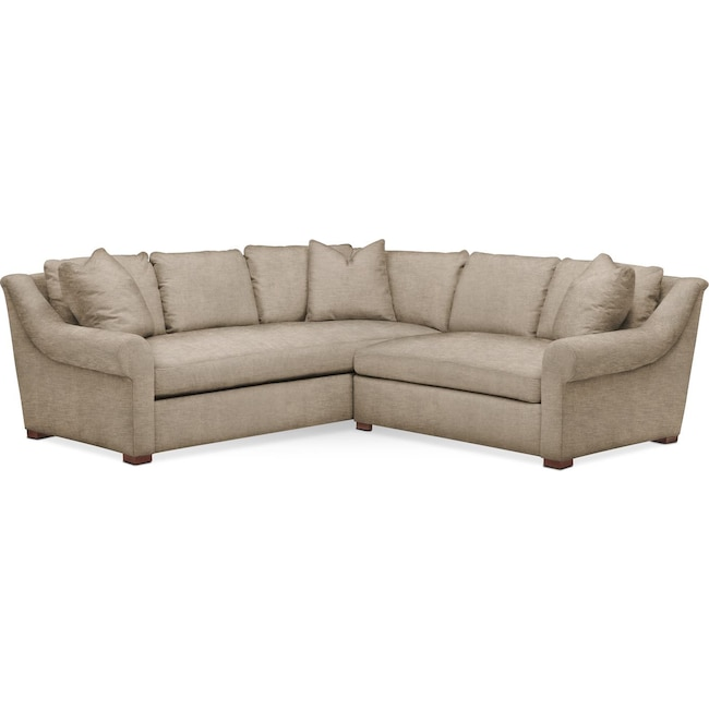 Living Room Furniture - Asher 2 Pc. Sectional with Right Arm Facing Loveseat- Comfort in Dudley Burlap