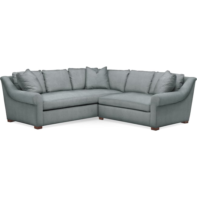 Living Room Furniture - Asher 2 Pc. Sectional with Right Arm Facing Loveseat- Comfort in Abington TW Seven Seas