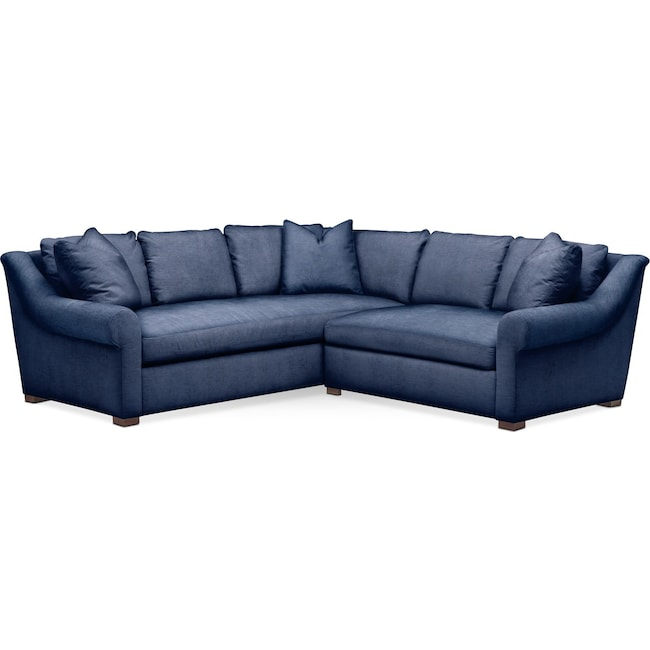 Living Room Furniture - Asher 2 Pc. Sectional with Right Arm Facing Loveseat- Comfort in Abington TW Indigo