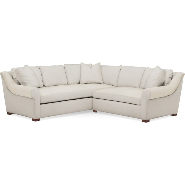 Living Room Furniture - Asher 2 Pc. Sectional with Right Arm Facing Loveseat- Comfort in Anders Ivory