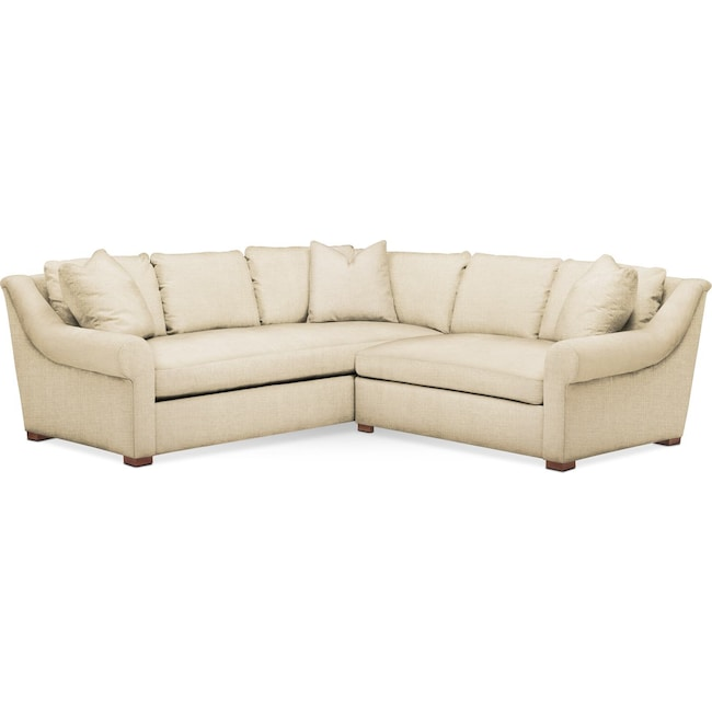 Living Room Furniture - Asher 2 Pc. Sectional with Right Arm Facing Loveseat- Comfort in Anders Cloud