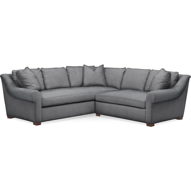Living Room Furniture - Asher 2 Pc. Sectional with Right Arm Facing Loveseat- Cumulus in Depalma Charcoal