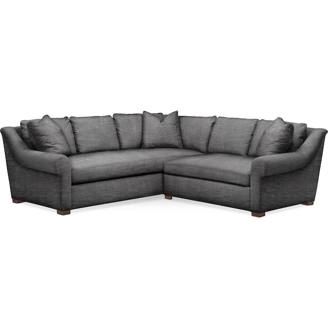 Living Room Furniture - Asher 2 Pc. Sectional with Right Arm Facing Loveseat- Cumulus in Curious Charcoal