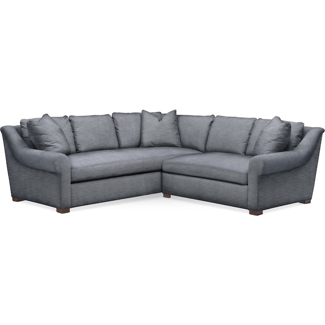 Living Room Furniture - Asher 2 Pc. Sectional with Right Arm Facing Loveseat- Cumulus in Dudley Indigo